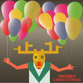 Christmas deer with balloons celebrating in vector new year holiday Royalty Free Stock Photo