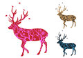 Christmas deer with birds vector winter tree pattern and illustration Royalty Free Stock Photo