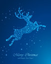 Christmas deer blue background with from stars illustration Royalty Free Stock Photo