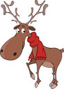 Christmas deer cartoon brown with a red scarf on necks Stock Photos