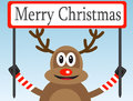 Christmas deer with a congratulatory poster Stock Photography