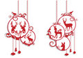 Christmas deer decoration, vector Royalty Free Stock Photo