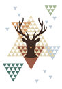 Christmas deer with geometric pattern vector abstract background illustration Royalty Free Stock Photography