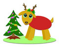 Christmas Deer and Mini Tree Stock Image