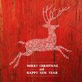 Christmas deer silhouette on red planks texture vector Royalty Free Stock Photo