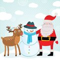 Christmas deer snowman and santa claus illustration Royalty Free Stock Image
