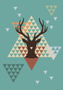 Christmas deer with triangle pattern vector abstract geometric background Stock Photos