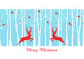 Christmas deers in birch tree forest, vector Royalty Free Stock Photo