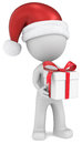 Christmas delivery dude the santa claus holding gift box white red ribbons Stock Images