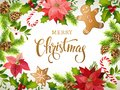 Christmas design composition of poinsettia, fir branches, cones, gingerbread, candy cane, holly and other plants. Cover, invitatio Royalty Free Stock Photo