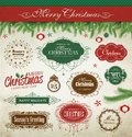 Christmas design elements converted vintage style Stock Photo