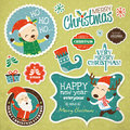 Christmas design elements gift tag greeting card sticker etc Stock Photo