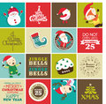 Christmas design elements for greeting card gift tags and stickers Royalty Free Stock Photos