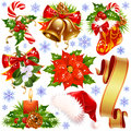 Christmas design elements isolated on white Stock Image