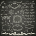 Christmas design elements in retro style on chalkboard Stock Photography