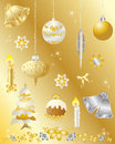 Christmas design elements set in gold and silver Royalty Free Stock Photo