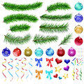 Christmas design elements set of pine branches balls ribbons and decorations Royalty Free Stock Photography