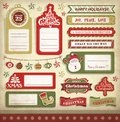Christmas design elements templates of card gift tags labels stickers Royalty Free Stock Image
