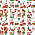 A christmas design with elves on white background Stock Image
