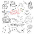 Christmas design hand drawn sketch had illustration with elements decorative background Royalty Free Stock Photo