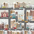 Christmas detailed snow day town with city roads, cars and cute houses. Happy New Year vector template in modern flat design.