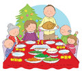 Christmas dinner hand drawn picture of a family having illustrated in a loose style vector eps available Royalty Free Stock Image