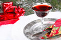 Christmas dinner with red wine and place setting Stock Image