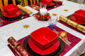 Christmas dinner table Stock Photos