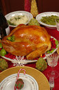 Christmas dinner with turkey and wine Royalty Free Stock Images