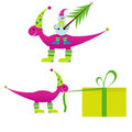 Christmas dinosaur  with snowman Royalty Free Stock Photos