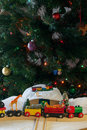 Christmas train set and animals Royalty Free Stock Photo