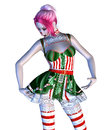 Christmas doll digitally rendered illustration of a in green with red stripes dress on white background Stock Photography