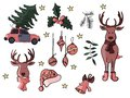 Christmas doodle icons and signs in vector