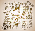 Christmas doodle illustrations Royalty Free Stock Images
