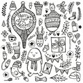 Christmas doodle collection. Hand drawing cute characters and design elements.
