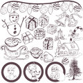 Christmas doodle sketch great hand drawn collection grouped separately and isolated on white background Royalty Free Stock Photo