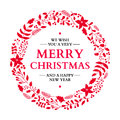 Christmas doodle wreath with greeting. Vector holiday card. Xmas