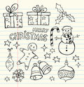 Christmas doodles collection of cute Royalty Free Stock Photography