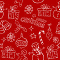 Christmas doodles pattern seamless with cute Royalty Free Stock Photo