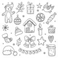Christmas Doodles. Winter Season Xmas Characters Animals Cute Gifts Tree Clothes Snowflakes Vector Drawing Pictures