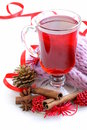 Christmas drink mulled wine tea with cinnamon and star anise Stock Photo