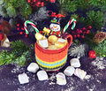 Christmas drink with snowman and marshmallow Royalty Free Stock Photo