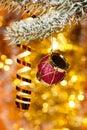Christmas drum on fir tree branch Stock Photo