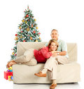 Christmas elderly couple Stock Images