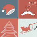 Christmas elements for design set of cards retro Royalty Free Stock Images
