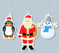 Christmas elements, penguin, santa claus and snowm Royalty Free Stock Photography