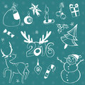 Christmas elements set. Vector icons. Design elements collection. Cartoon objects. Snowmen,deer, pine tree,holly berry, gifts, gar Royalty Free Stock Photo