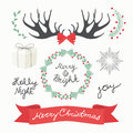 Christmas Elements and Symbols. Vectors illustration Royalty Free Stock Photo