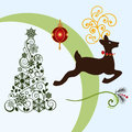 Christmas elements tree bauble reindeer flourish layered in vector format Stock Photo