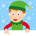Christmas Elf with Blank Banner Stock Photo